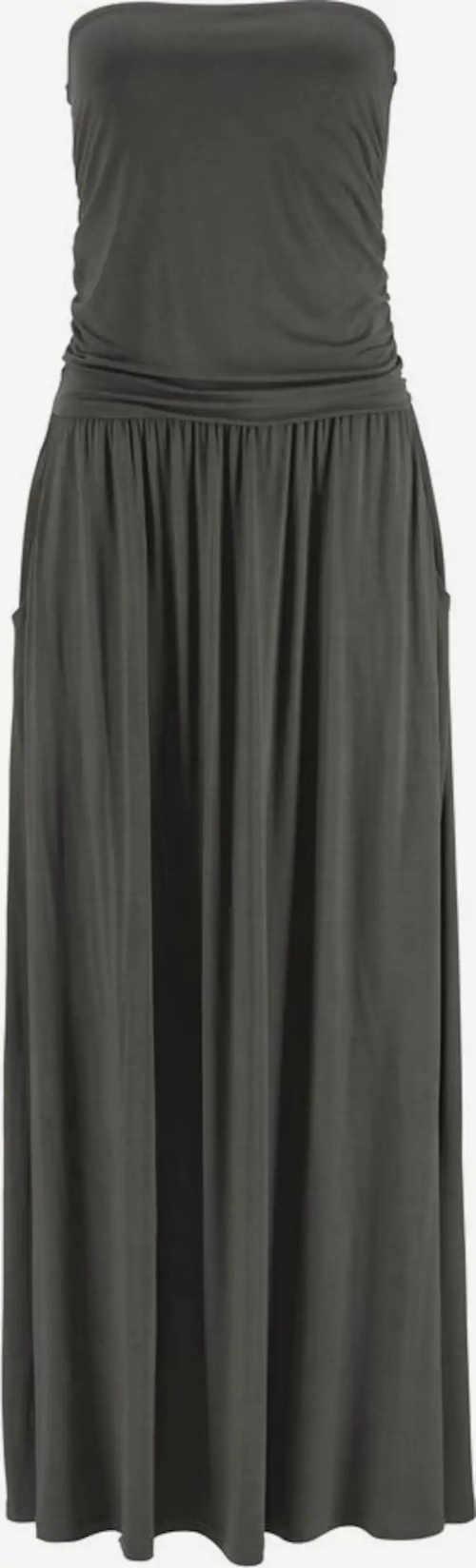 Dlouhé šedé letní šaty bez ramínek