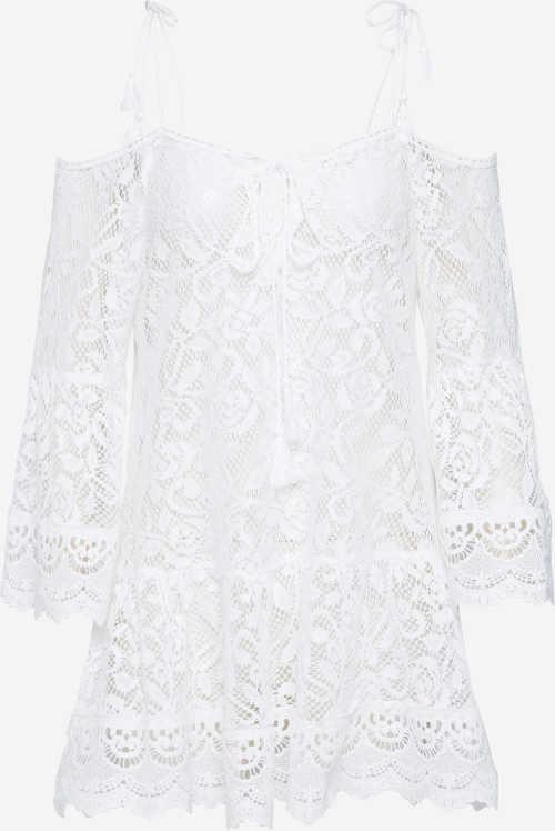 Krátké letní šaty z průhledné bílé krajky