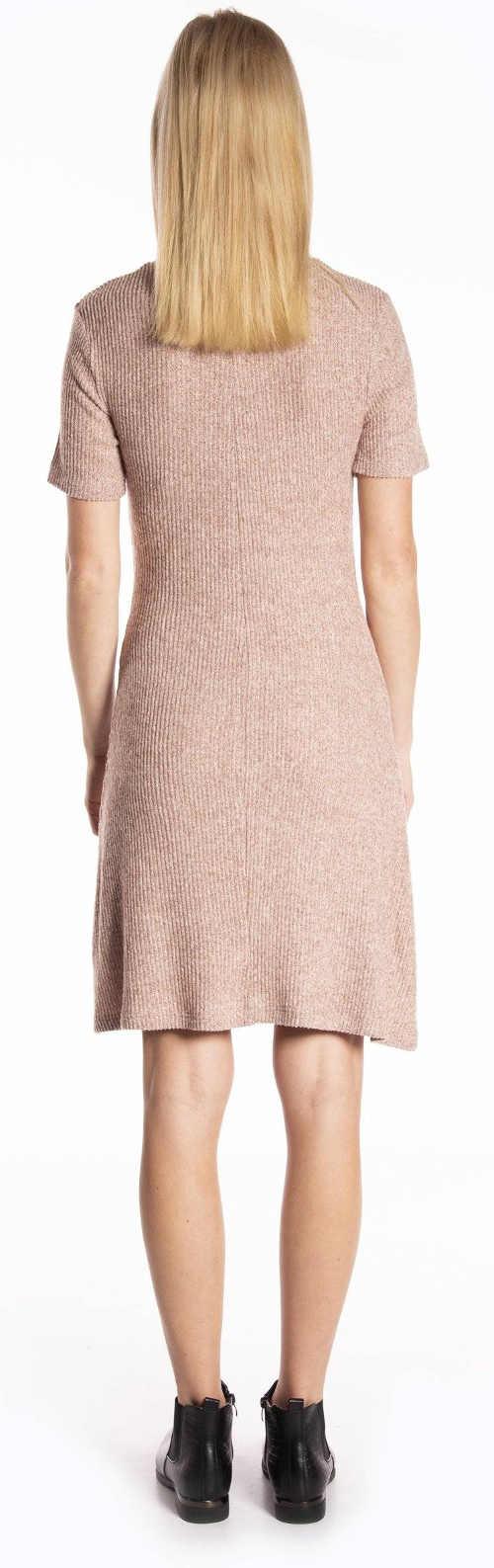 Levné béžové pletené dámské šaty