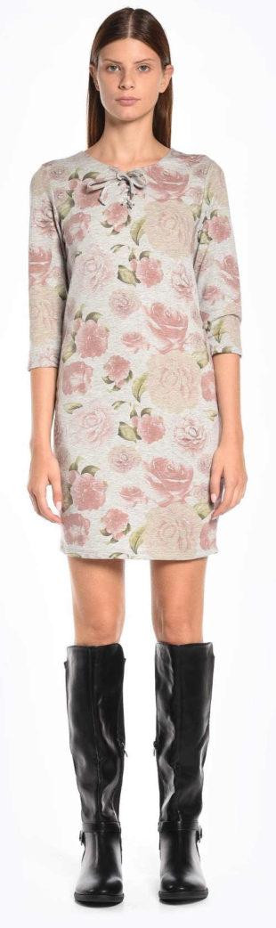 Levné květinové dámské šaty s tříčtvrtečním rukávem