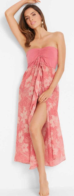 Růžové plážové bandážové šaty s dlouhou sukní