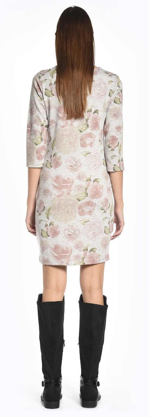Starorůžové dámské šaty s květinovým vzorem