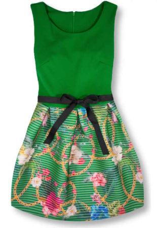 Zelené dámské šaty bez rukávů s květinovou sukni
