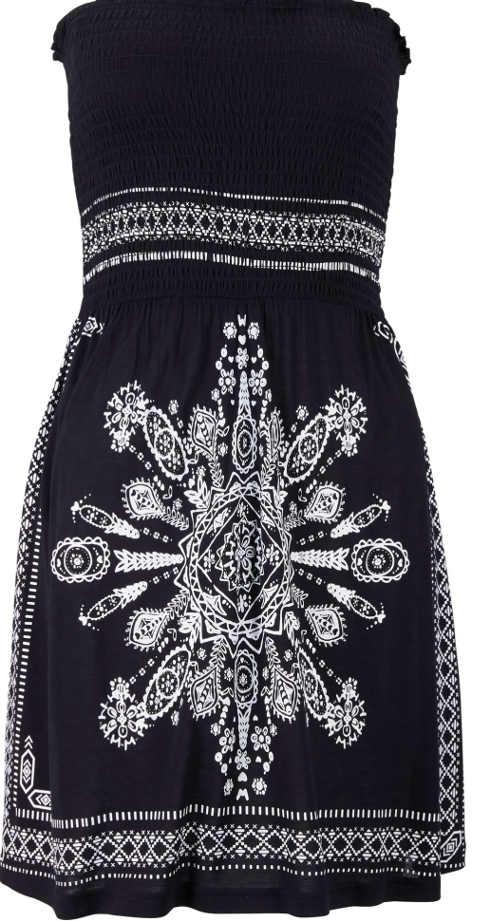 Bandážové šaty v černo-bílém provedení se vzorem
