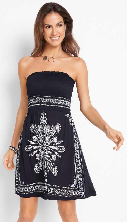 Černo-bílé bandážové šaty