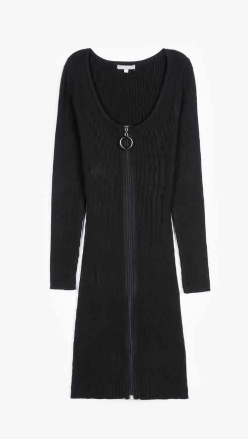 Dámské šaty na zip žebrované