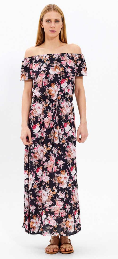 Dlouhé šaty s květinovým vzorem a volánek u krku