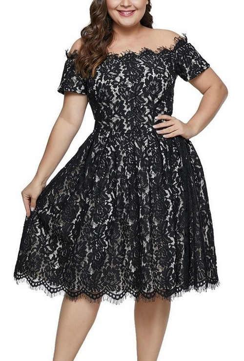 Elegantní krajkové černé šaty pro dámy s konfekcí size plus