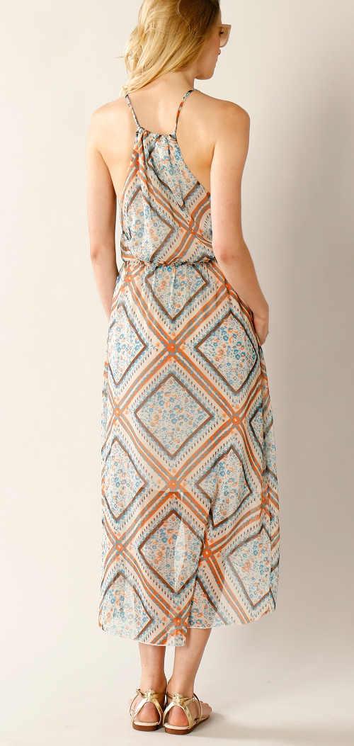 Letní šaty asymetrické se vzorem