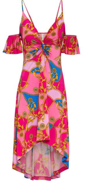 Letní šaty s odhalenými rameny v pestrém barevném provedení