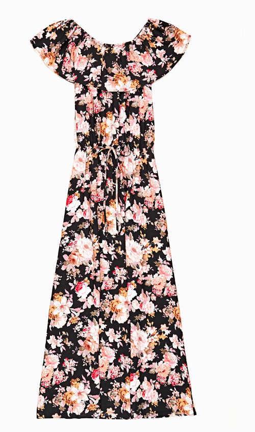 Šaty dlouhé s volánem u krku a květy