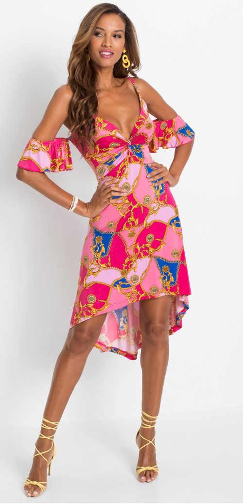 Šaty s odhalenými rameny v pestrých barvách