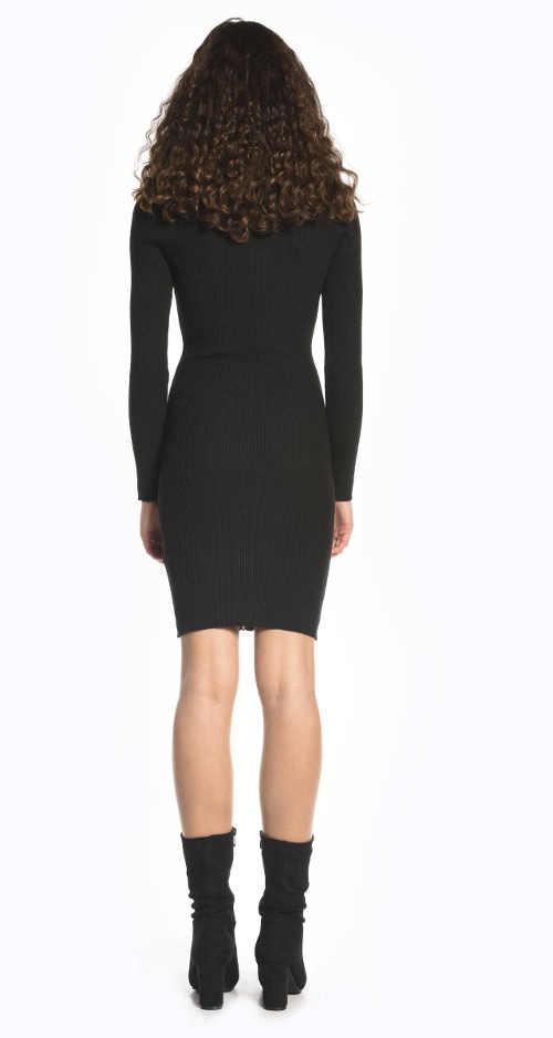 Žebrované černé dámské šaty