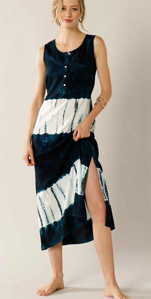 Batikované maxi šaty bez rukávů na léto