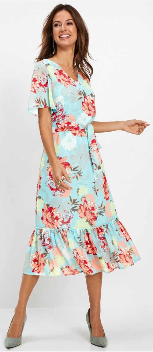 Lehounké letní květované dámské šaty s délkou pod kolena