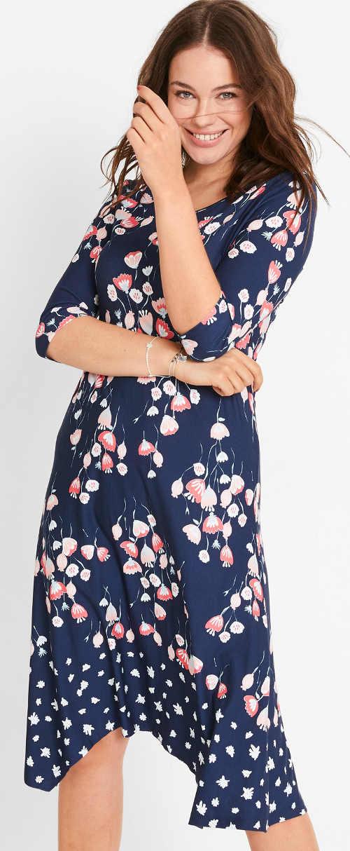 Modré letní midi šaty s květinovým potiskem