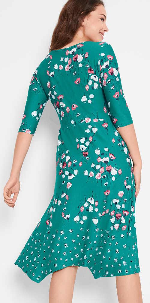 Petrolejově modré dámské letní šaty s květinovým potiskem