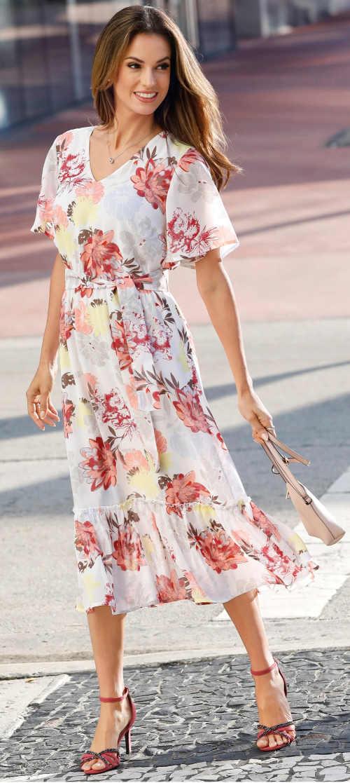 Společenské květinové letní šaty pro plnoštíhlé