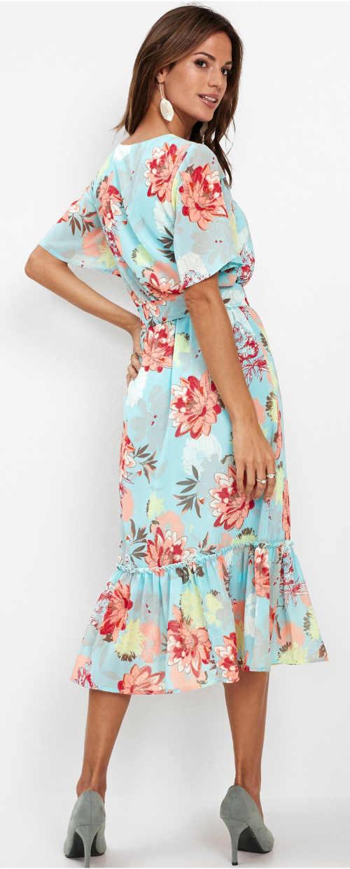Světle modré květované letní šaty midi délka