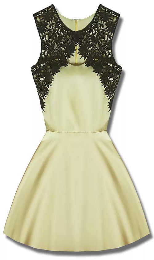 Žluté společenské šaty s černou krajkou