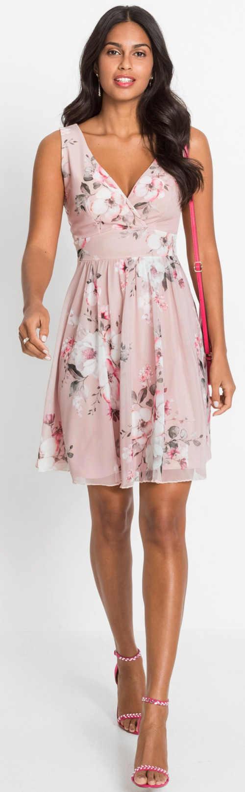 Elegantní růžové dámské letní šaty s květinovým potiskem