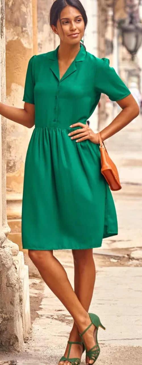 Elegantní zelené letní šaty košilového střihu