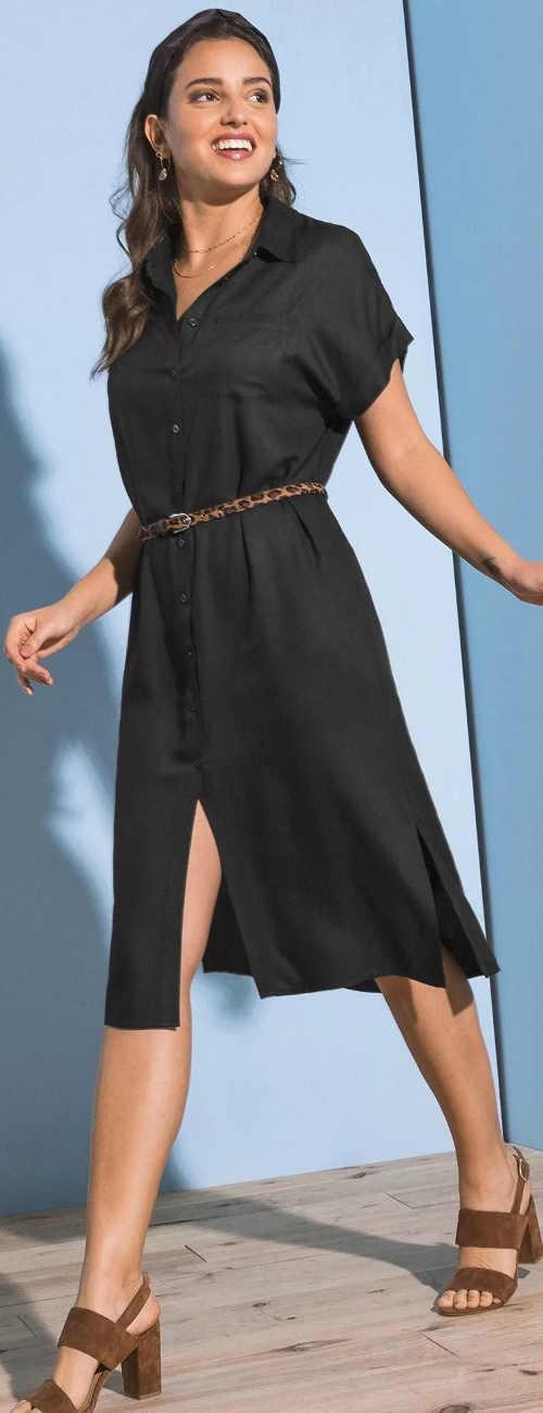 Jednobarevné celopropínací košilové dámské šaty s krátkým rukávem