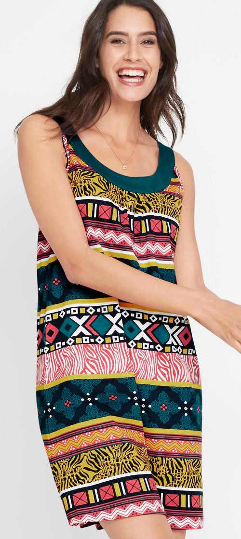 Jednoduché letní dámské šaty s etno potiskem
