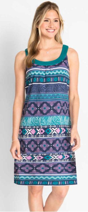 Letní bavlněné vzorované šaty na ramínka bez rukávů