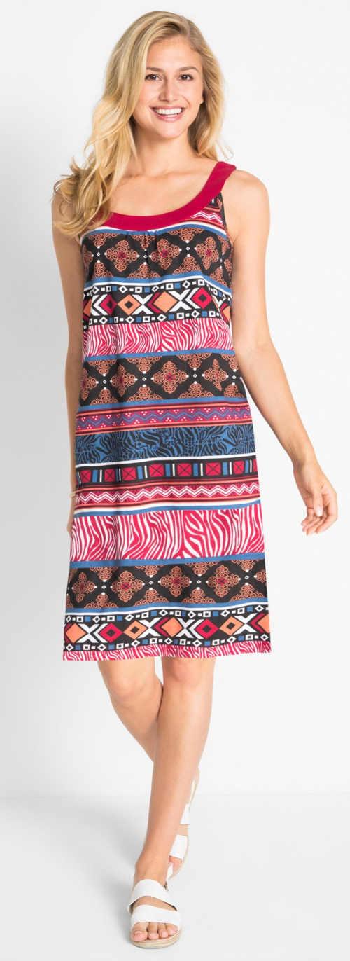 Levné letní dámské šaty s výrazným potiskem