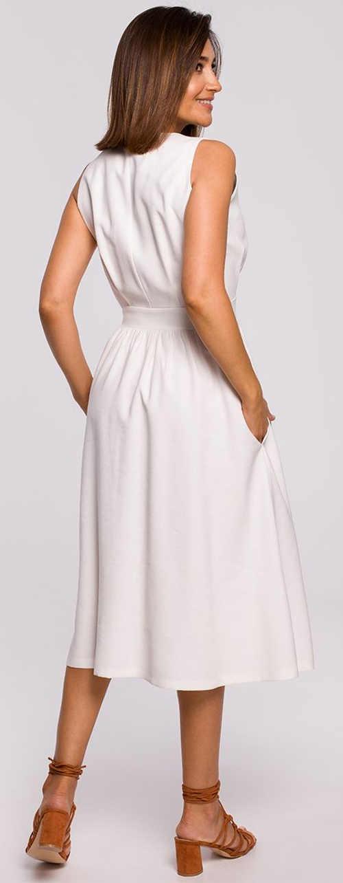 Moderní bílé letní šaty s kapsami