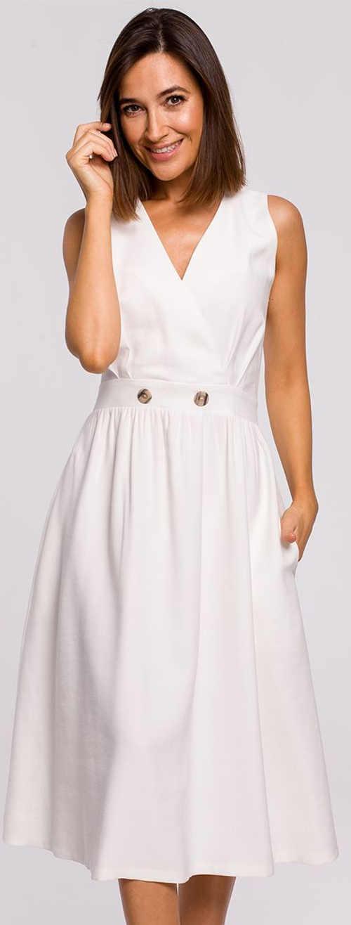 Něžné bílé letní šaty s knoflíky v pase
