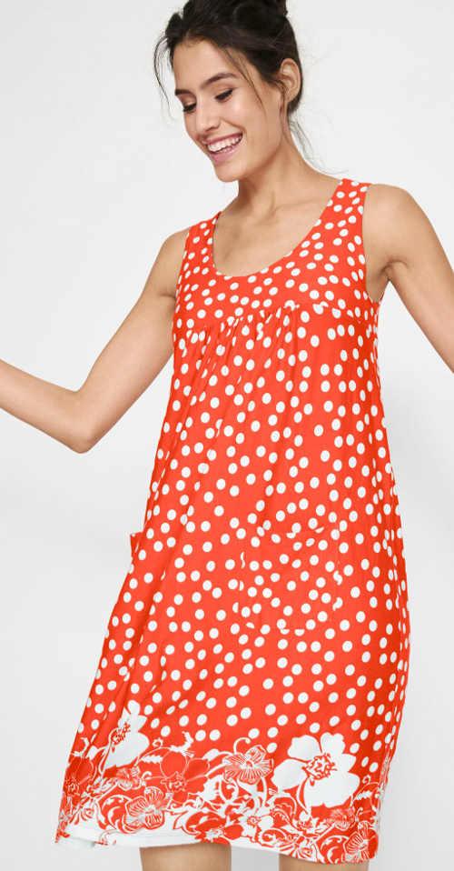 Oranžové dámské letní šaty s potiskem puntíků a květin