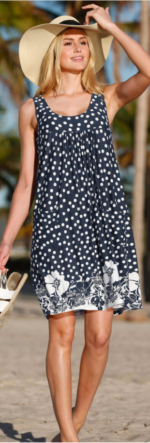 Puntíkované letní šaty bez rukávů pro plnoštíhlé