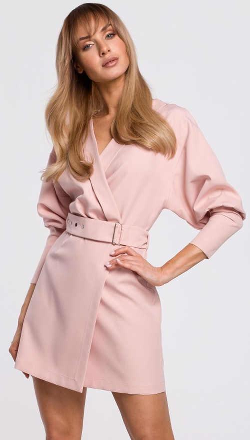 Růžové elegantní zavinovací šaty s páskem