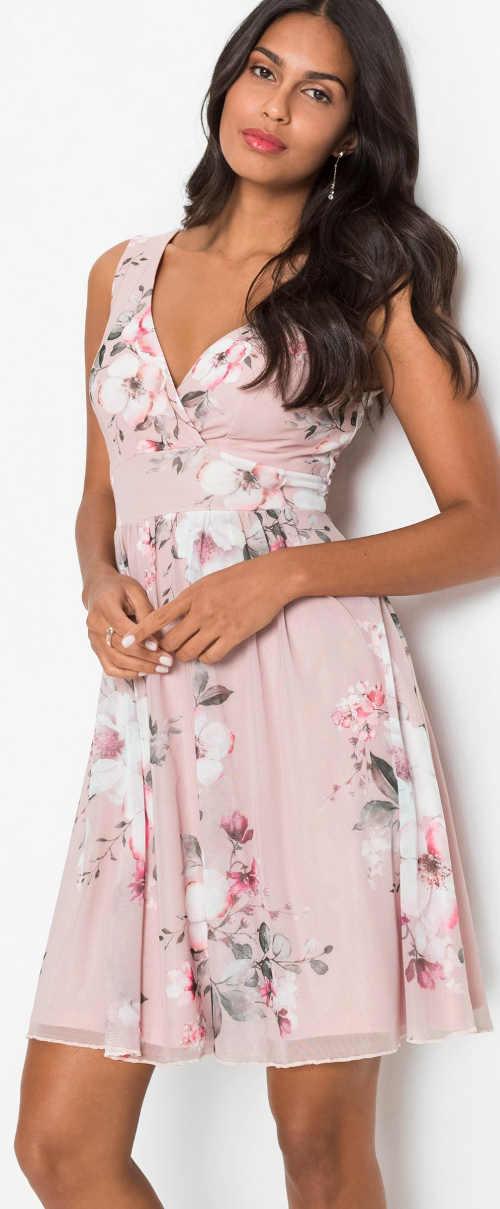 Růžové květované dámské šaty pro matku nevěsty