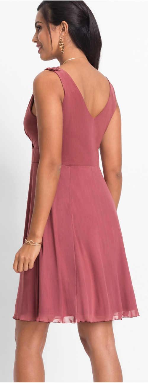 Růžové ramínkové plesové dámské šaty