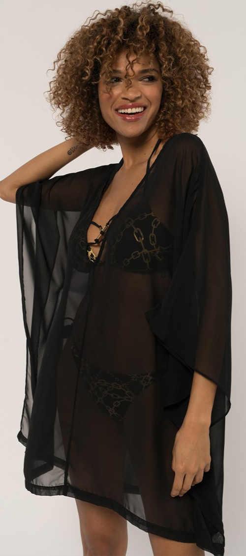 Šaty na plavky z lehké průsvitné černé látky
