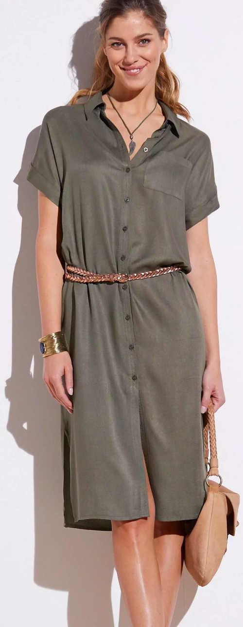 Šedé dámské letní šaty košilového střihu s límečkem