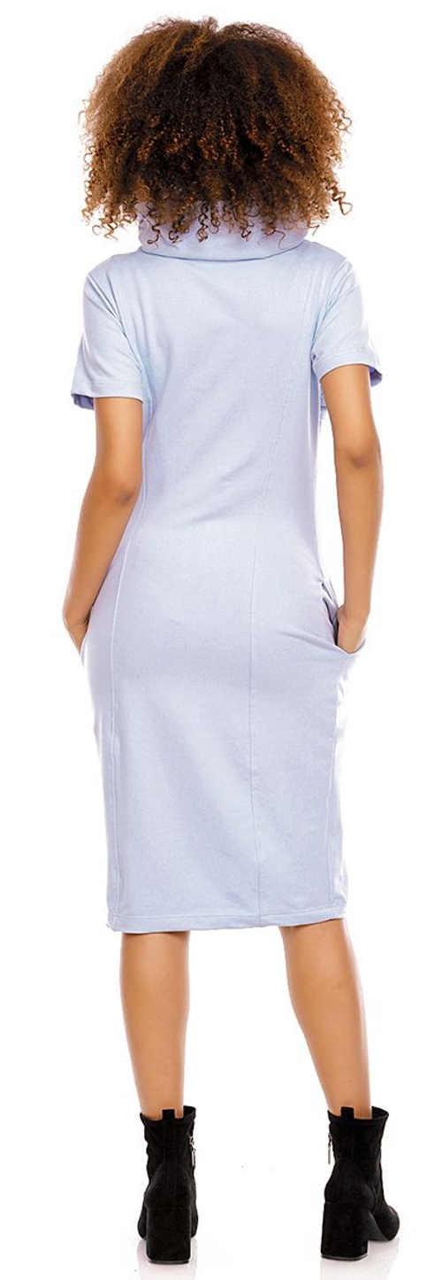 Světle modré těhotenské šaty se stojáčkem u krku