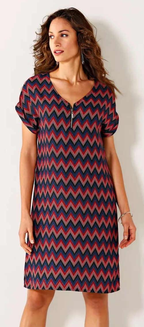 Vzorované dámské šaty s výstřihem na zip