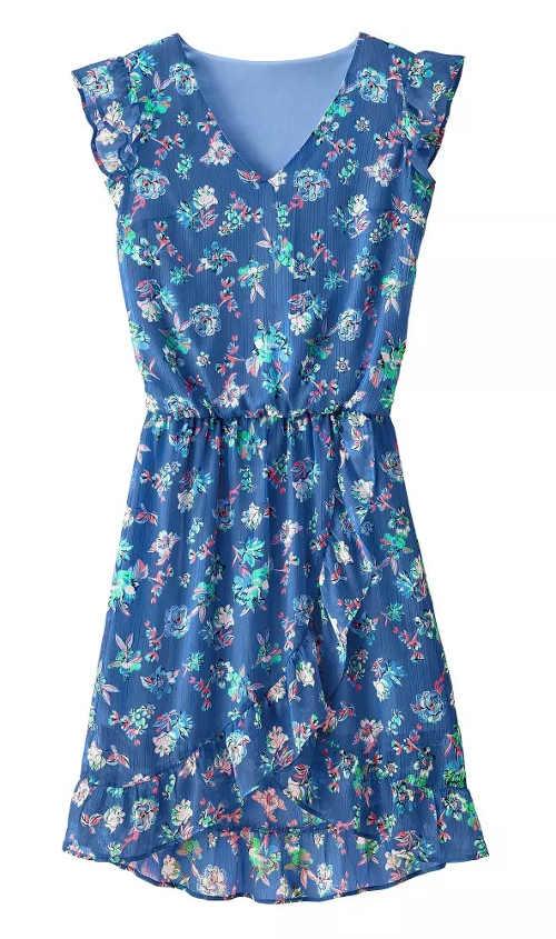 Zlevněné modré květované dámské šaty Blancheporte