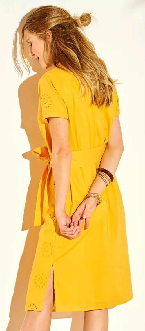 Žluté košilové dámské šaty s páskem