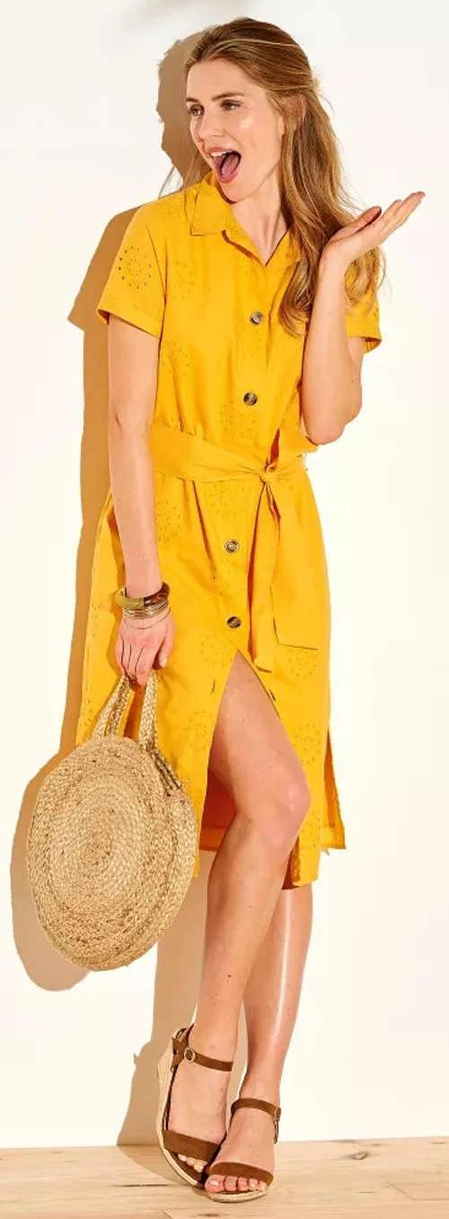 Žluté košilové dámské šaty s anglickou výšivkou