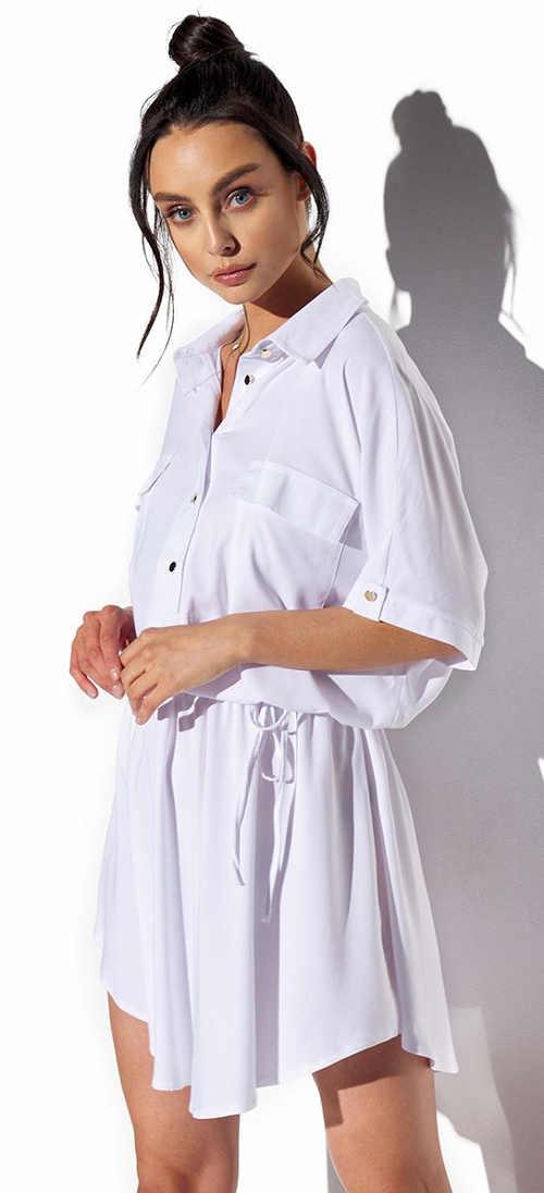Bílé dámské košilové šaty v elegantním a nadčasovém střihu