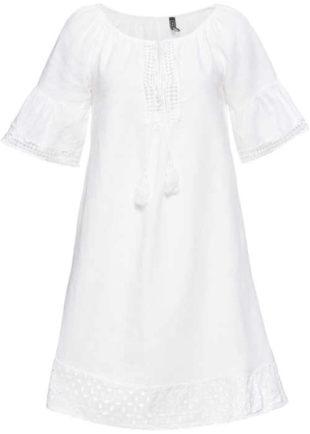 Bílé šaty v moderním a pohodlném střihu s bordurou