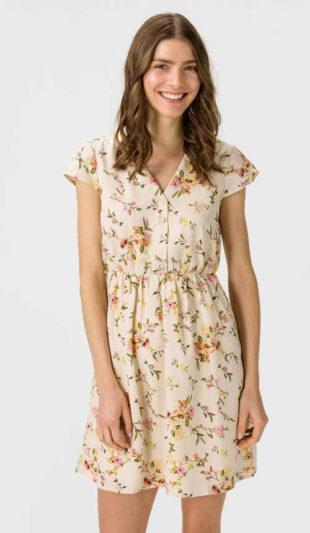 Casual šaty s moderním květinovým vzorem v krátké délce