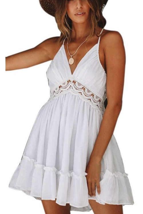 Dámské bílé letní mini šaty v impozantním provedení