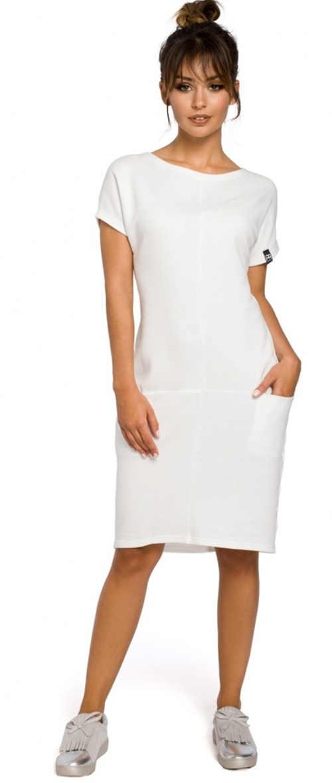 Dámské jednobarevné šaty s krátkým rukávem v elegantním střihu