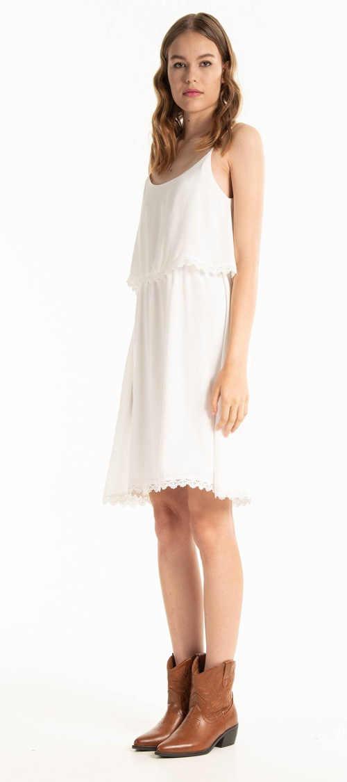 Dámské letní šaty na špagetová ramínka s háčkovaným detailem